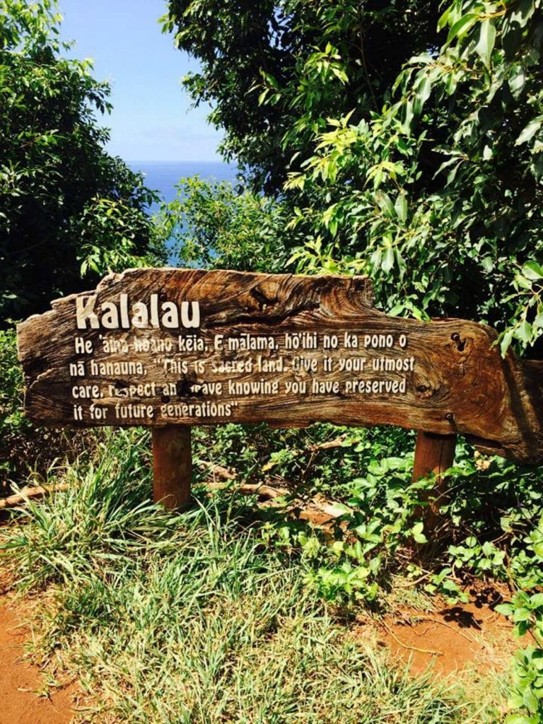 The Kalalau valley sign that tells you the Kalalau trail hike was worth it